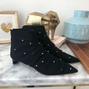 Zara Black Stud Mesh Wrap Ankle Booties